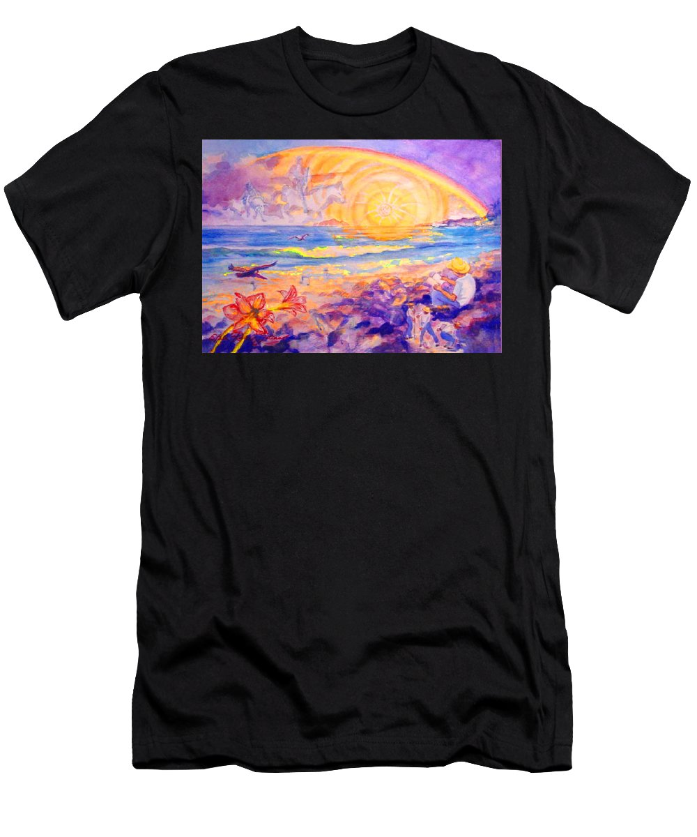 Watercolor Paintings Men's T-Shirt (Athletic Fit) featuring the painting The Sun's Words by Estela Robles