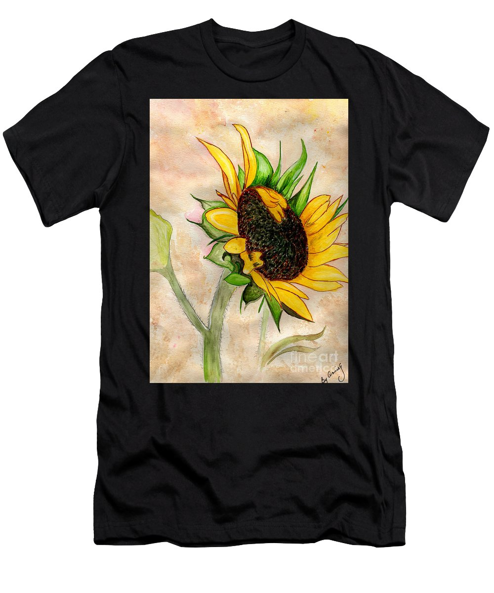 Sunflower Men's T-Shirt (Athletic Fit) featuring the painting The Sunshine Of God's Love by Anne Gitto