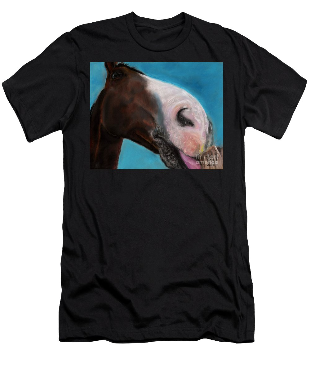 Abstract Horses Men's T-Shirt (Athletic Fit) featuring the painting The Tasty Post by Frances Marino