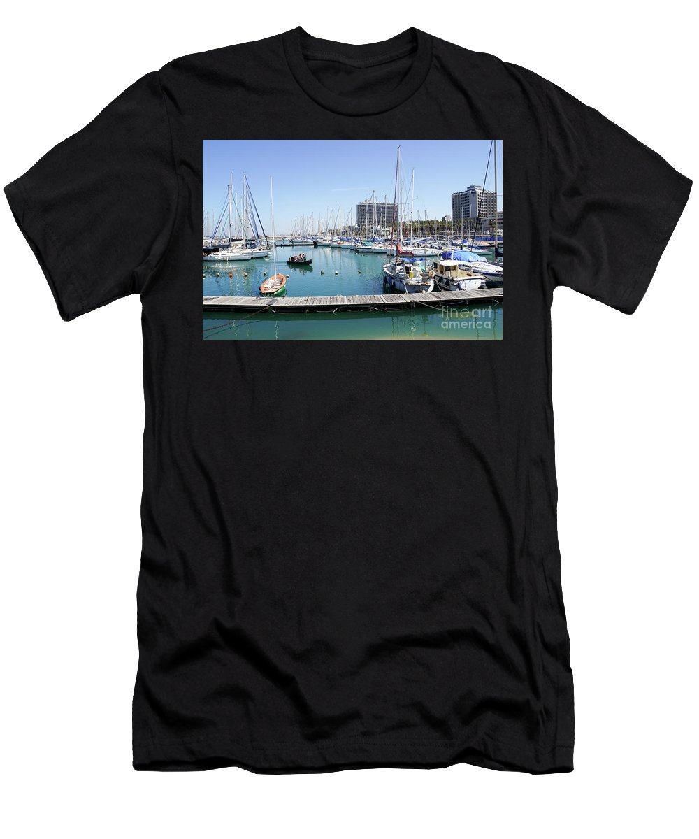 Leisure Men's T-Shirt (Athletic Fit) featuring the photograph The Tel Aviv Marina by Vladi Alon