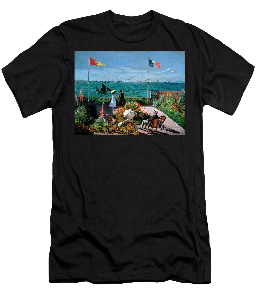 Claude Monet Men's T-Shirt (Athletic Fit) featuring the painting The Terrace At Sainte Adresse by Claude Monet