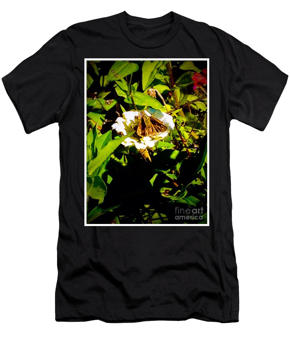 White Men's T-Shirt (Athletic Fit) featuring the photograph The Tiniest Skipper Butterfly In The Garden by Debra Lynch