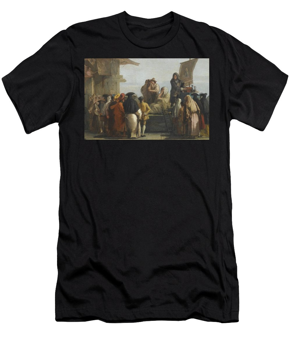 Giovanni Domenico Tiepolo The Toothpuller Men's T-Shirt (Athletic Fit) featuring the painting The Toothpuller by MotionAge Designs