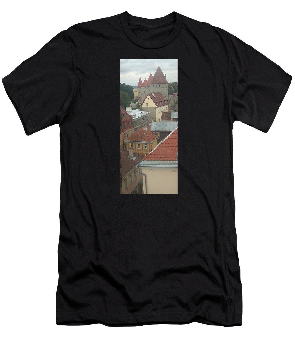 Tallinn Men's T-Shirt (Athletic Fit) featuring the photograph The Towers Of Old Tallinn Estonia by Rauno Joks
