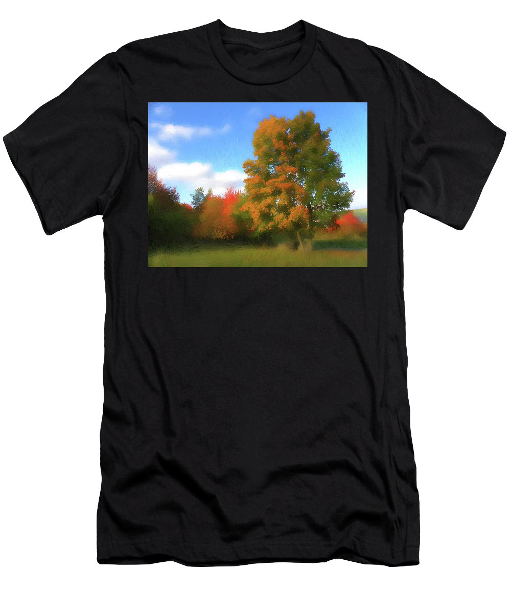Nature Men's T-Shirt (Athletic Fit) featuring the digital art The Transition From Summer To Fall. by Alex Lim