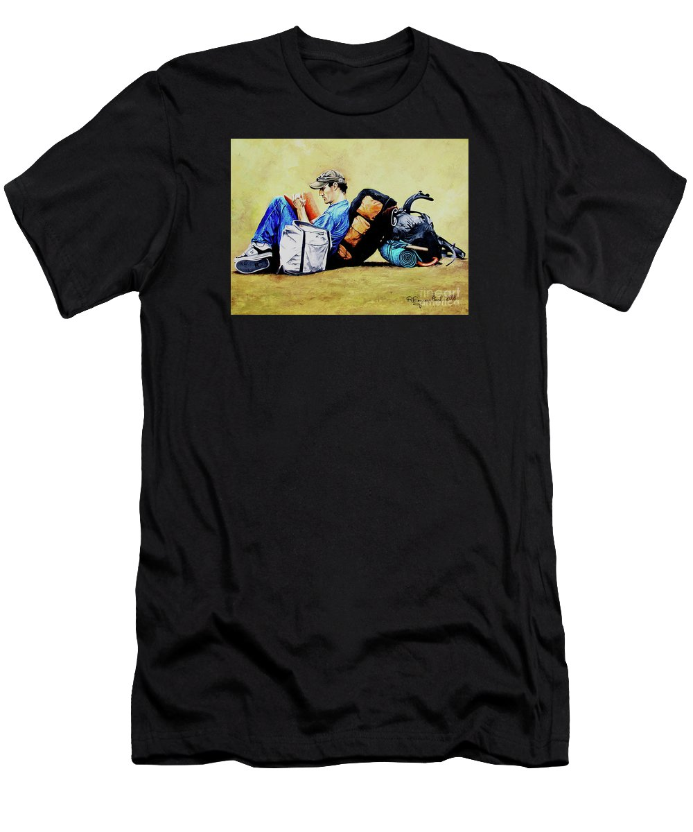 Travel Men's T-Shirt (Athletic Fit) featuring the painting The Traveler 2 - El Viajero 2 by Rezzan Erguvan-Onal