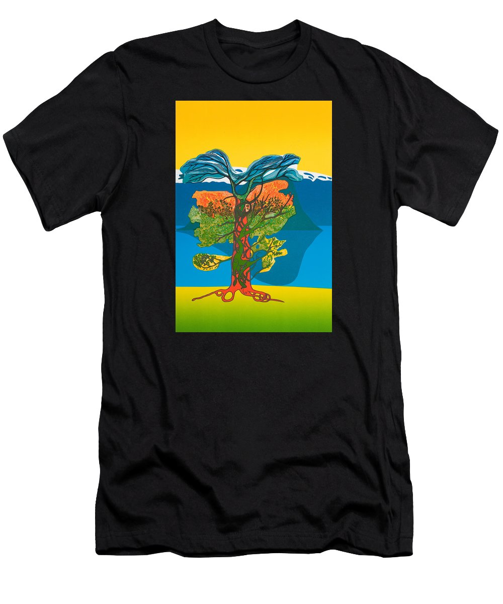 Landscape Men's T-Shirt (Athletic Fit) featuring the mixed media The Tree Of Life. From The Viking Saga. by Jarle Rosseland