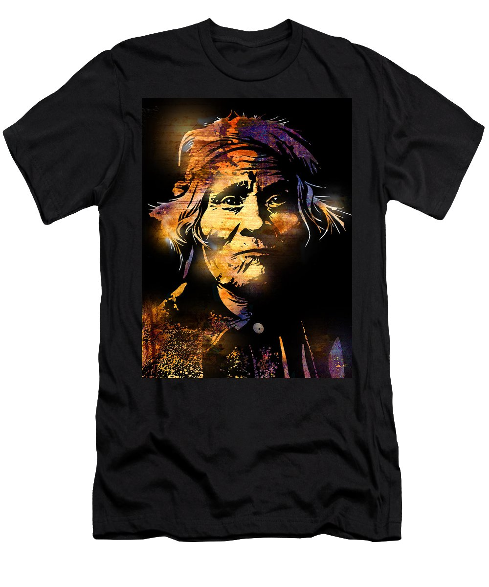 Native Americans Men's T-Shirt (Athletic Fit) featuring the painting The Tribe Elder by Paul Sachtleben