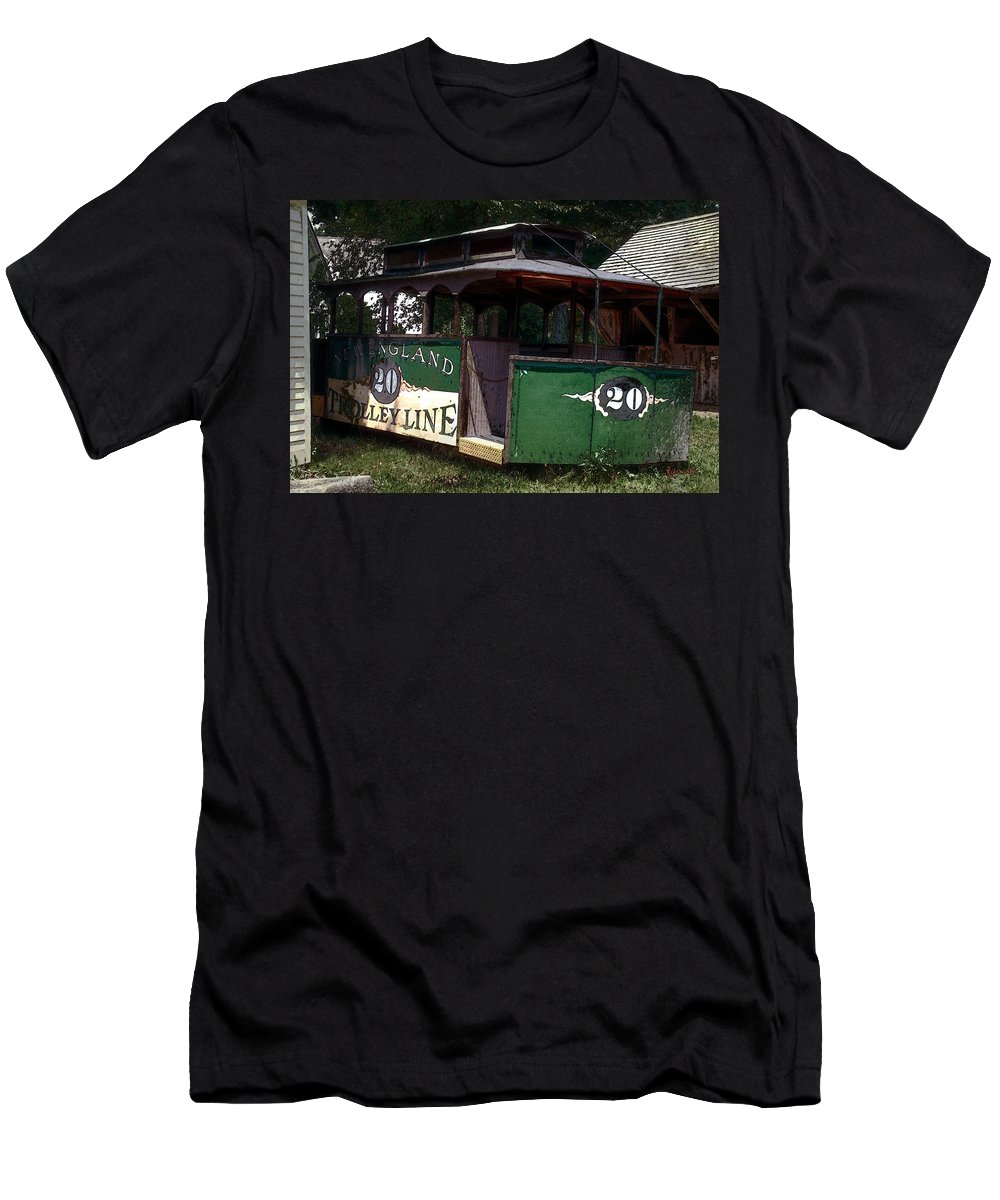 Trolley Men's T-Shirt (Athletic Fit) featuring the digital art The Trolley Out Back by RC DeWinter