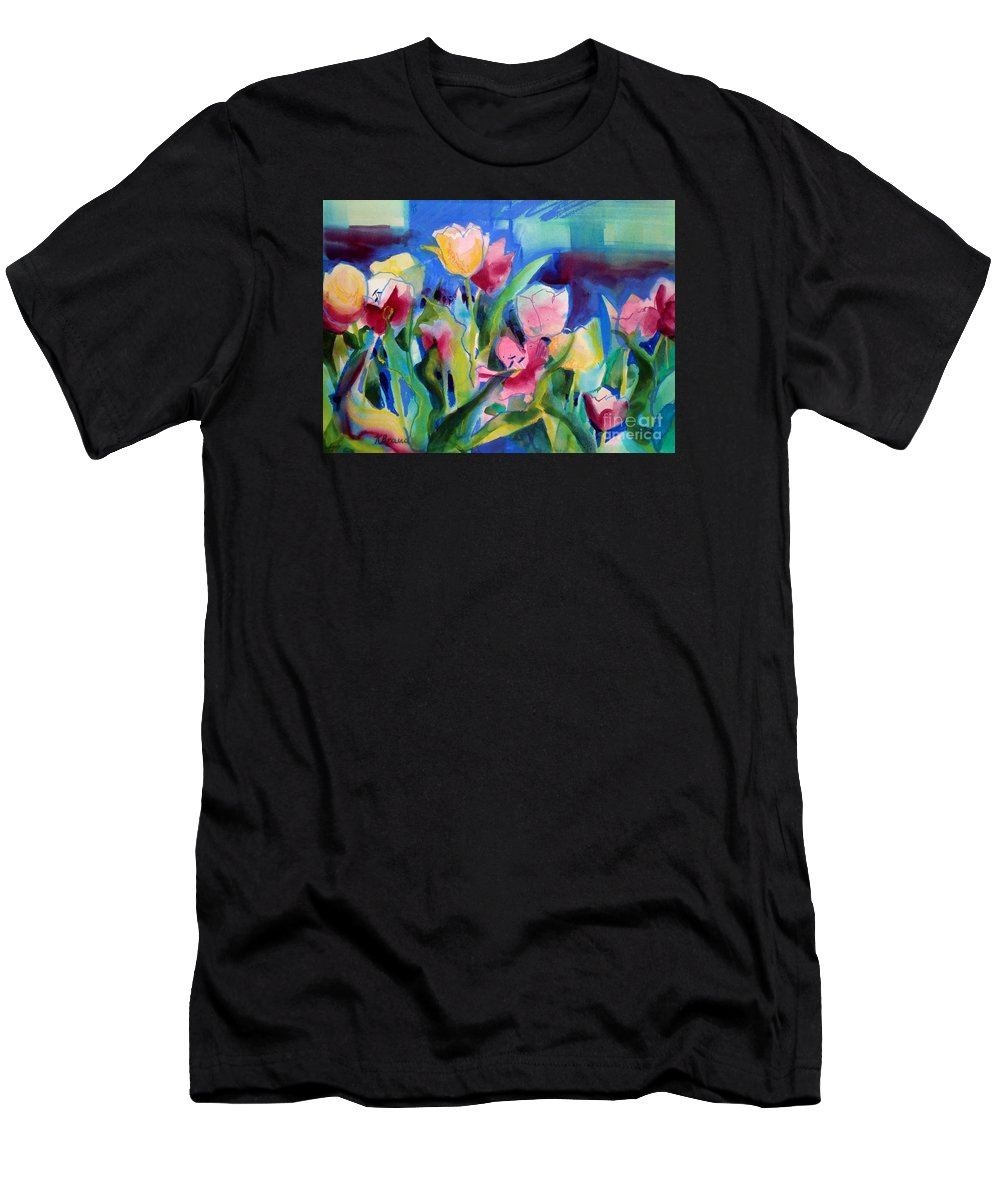 Paintings Men's T-Shirt (Athletic Fit) featuring the painting The Tulips Bed Rock by Kathy Braud
