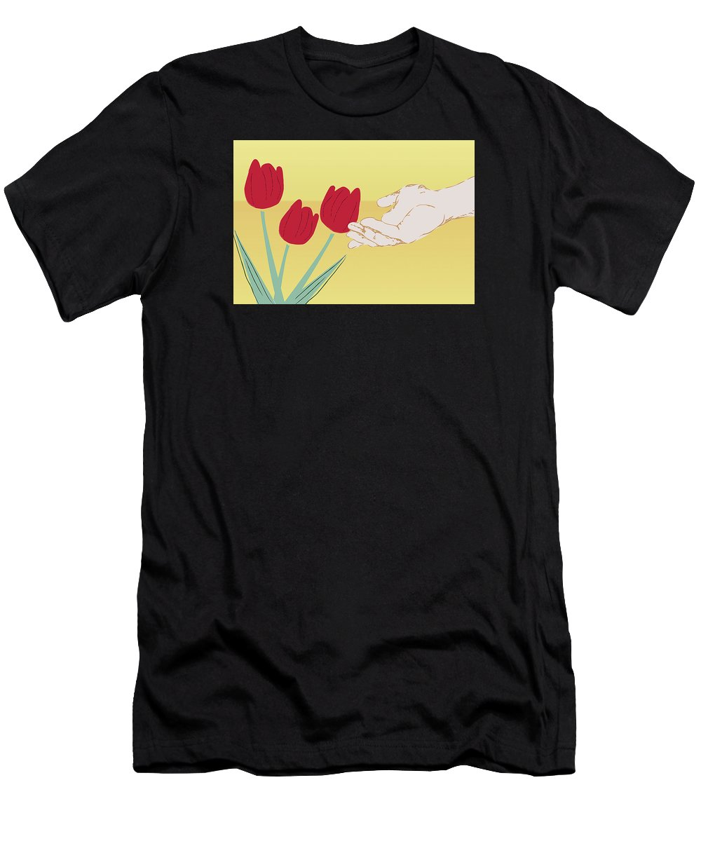 Green Men's T-Shirt (Athletic Fit) featuring the digital art The Tulips by Milena Ilieva
