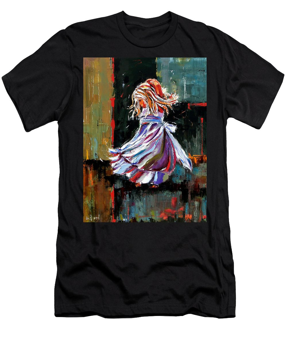 Girl T-Shirt featuring the painting The Twirl by Debra Hurd