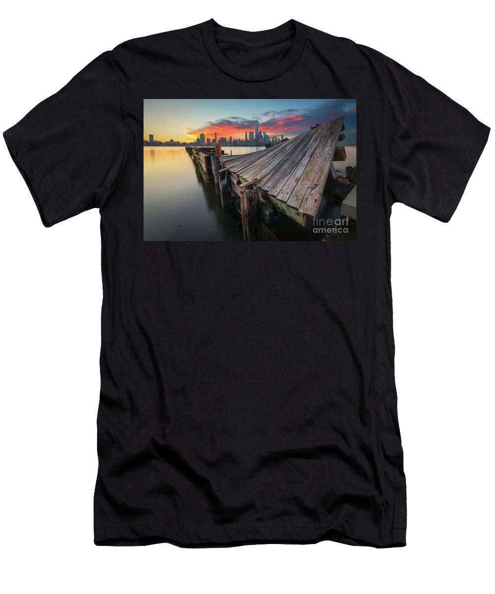 Twisted Pier Men's T-Shirt (Athletic Fit) featuring the photograph The Twisted Pier by Michael Ver Sprill