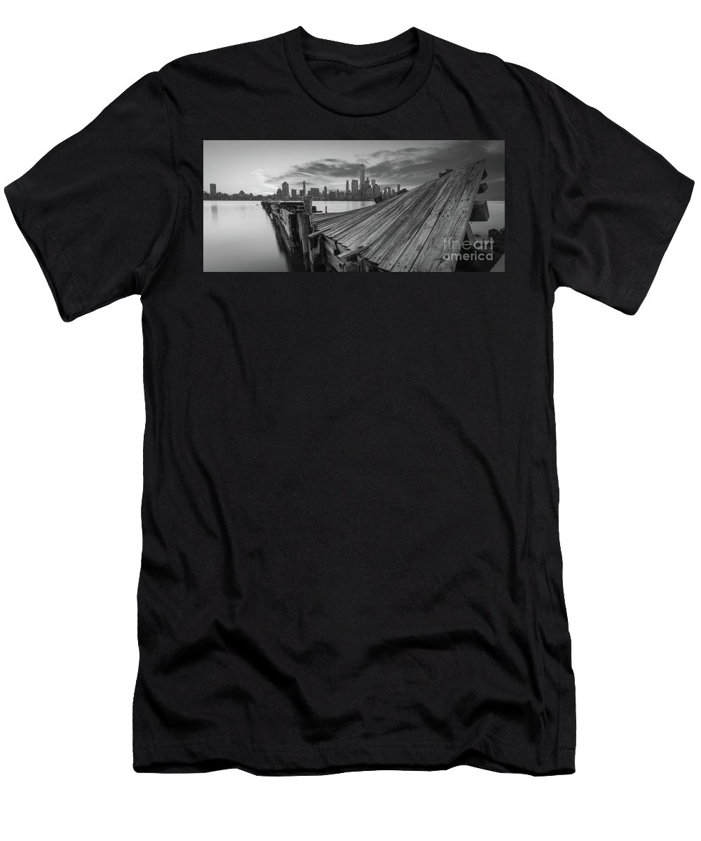Twisted Pier Men's T-Shirt (Athletic Fit) featuring the photograph The Twisted Pier Panorama Bw by Michael Ver Sprill