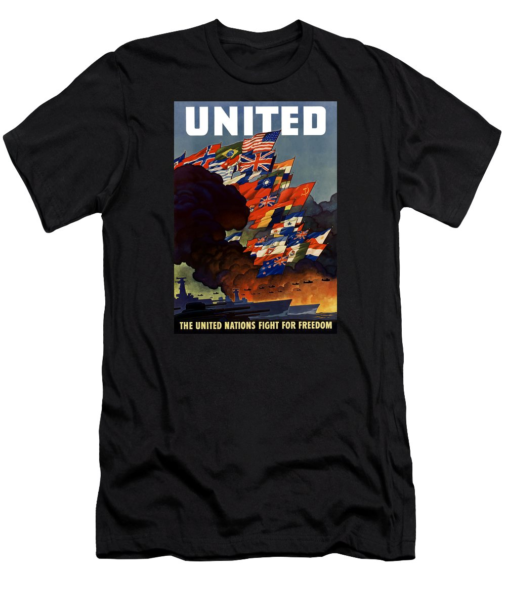 Propaganda Men's T-Shirt (Athletic Fit) featuring the painting The United Nations Fight For Freedom by War Is Hell Store