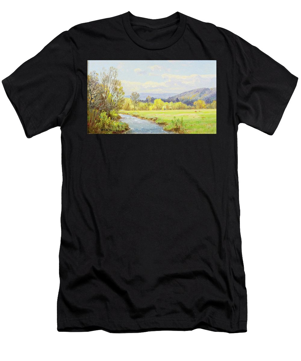 William Trost Richards 1833 - 1905 The Valley Stream Men's T-Shirt (Athletic Fit) featuring the painting The Valley Stream by William Trost