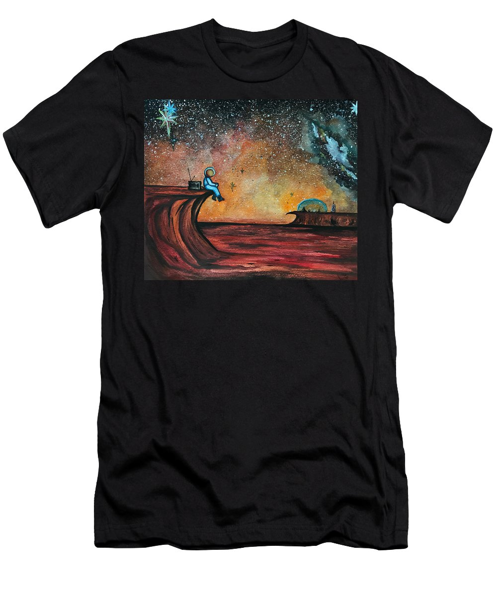 Mars Men's T-Shirt (Athletic Fit) featuring the painting The View From Here. by Bethany Kindsvogel