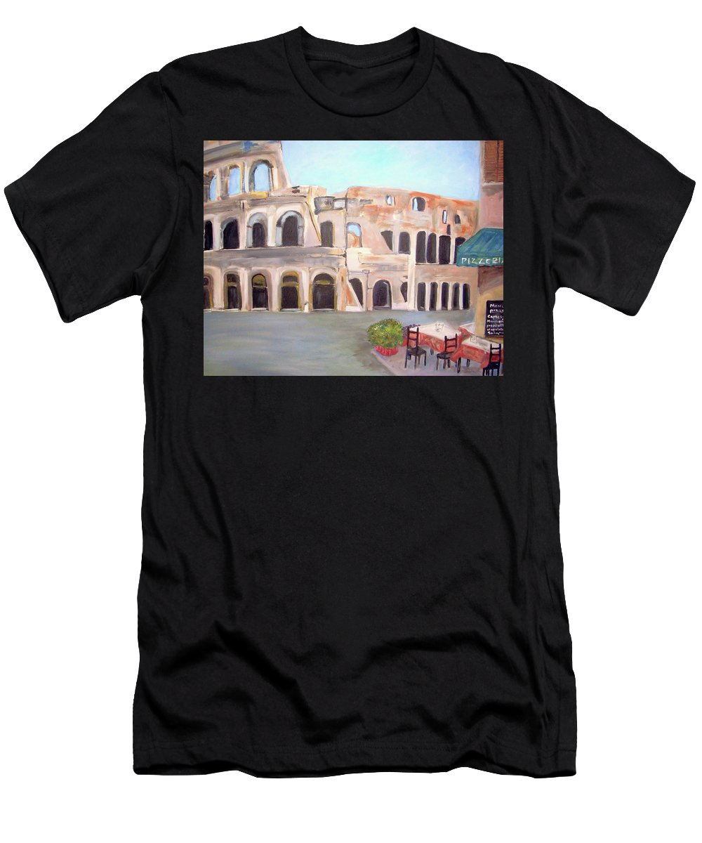 Cityscape Men's T-Shirt (Athletic Fit) featuring the painting The View Of The Coliseum In Rome by Teresa Dominici