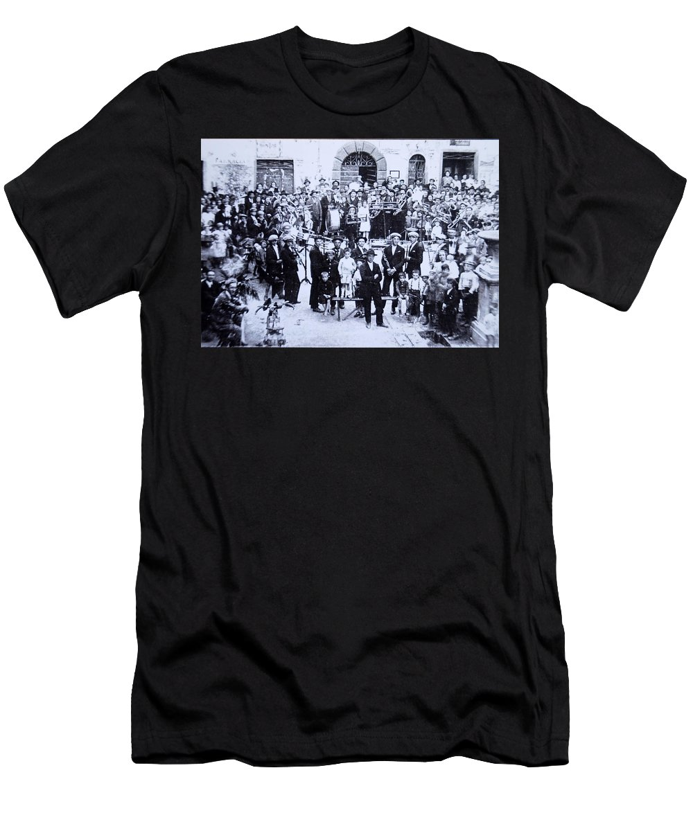 Tuscany Men's T-Shirt (Athletic Fit) featuring the photograph The Village Band by Kurt Hausmann