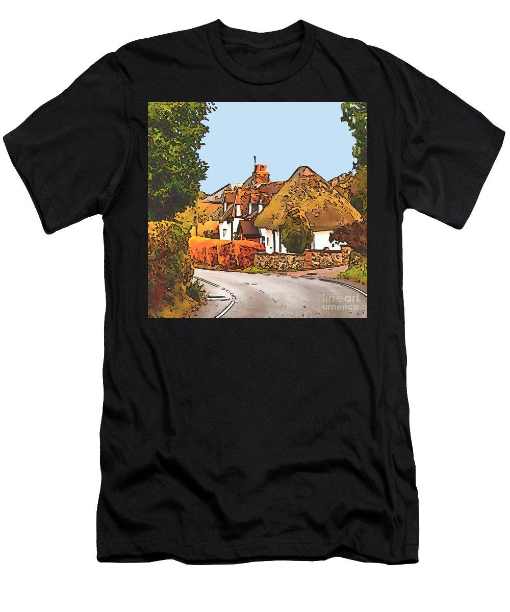 The Village Of Chilbolton Men's T-Shirt (Athletic Fit) featuring the drawing The Village Of Chilbolton by Sergey Lukashin