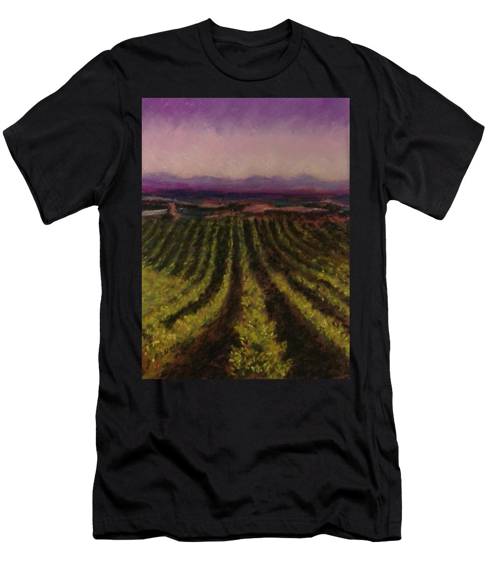 Landscape Men's T-Shirt (Athletic Fit) featuring the pastel The Vineyard by Pat Snook