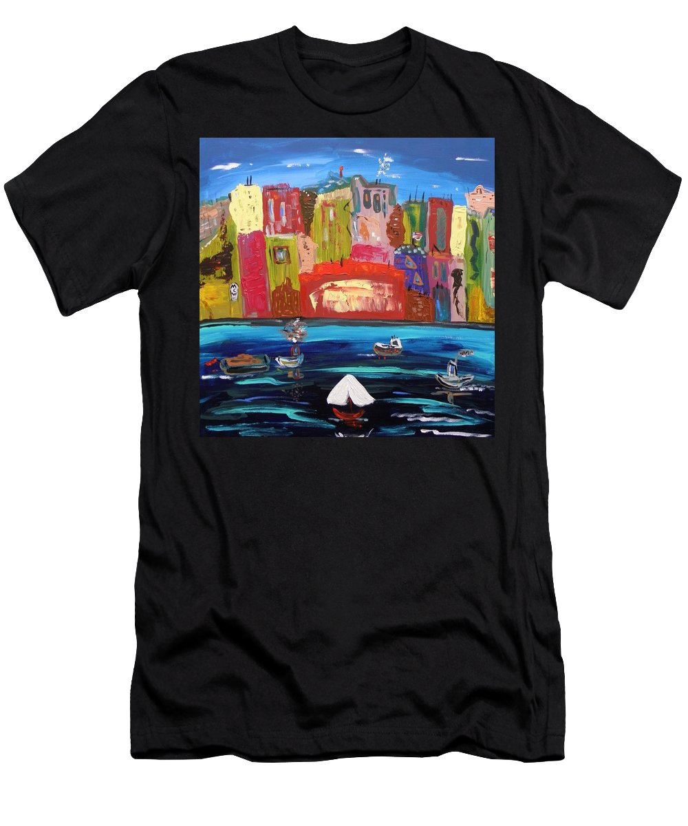 Urban Men's T-Shirt (Athletic Fit) featuring the painting The Vista Of The City by Mary Carol Williams