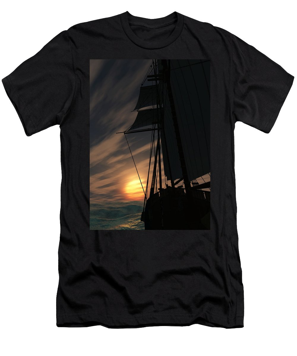 Ships Men's T-Shirt (Athletic Fit) featuring the digital art The Voyage Home by Richard Rizzo