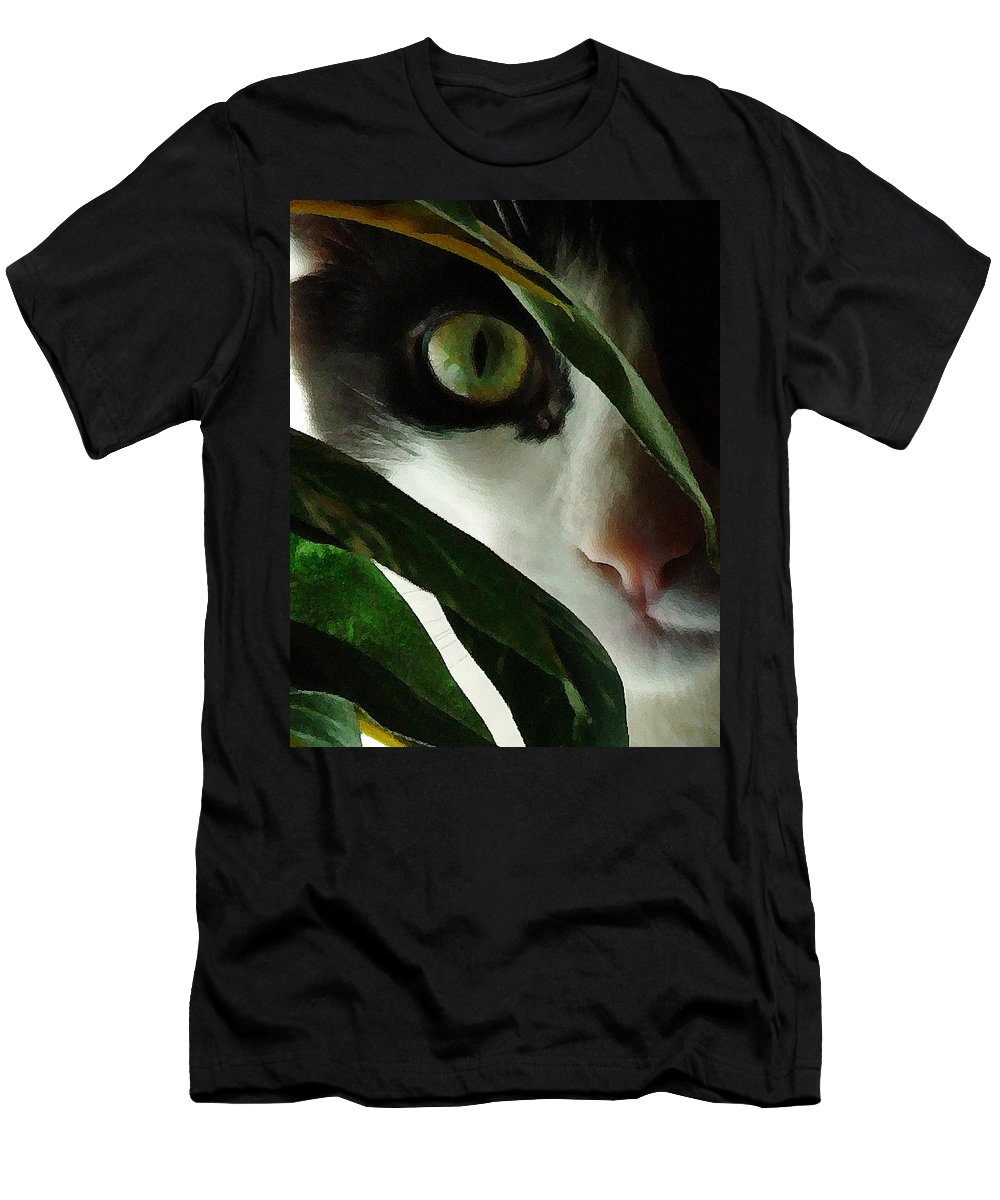 Cat Men's T-Shirt (Athletic Fit) featuring the photograph The Voyeur by Lynn Andrews