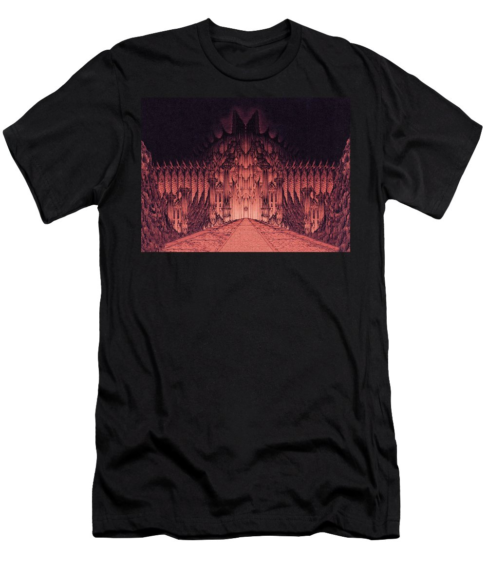 Barad Dur Men's T-Shirt (Athletic Fit) featuring the drawing The Walls Of Barad Dur by Curtiss Shaffer