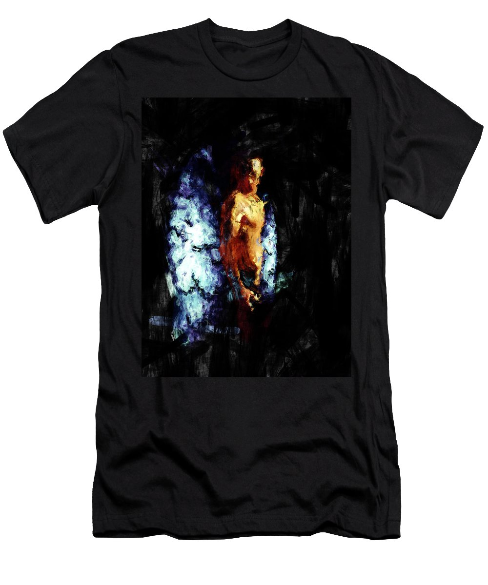 Man Men's T-Shirt (Athletic Fit) featuring the painting The Watcher by Adam Vance