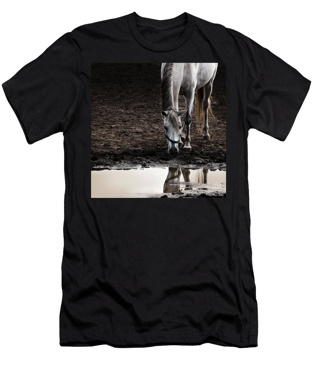 Horse Men's T-Shirt (Athletic Fit) featuring the photograph The Water Reflection by Angel Ciesniarska