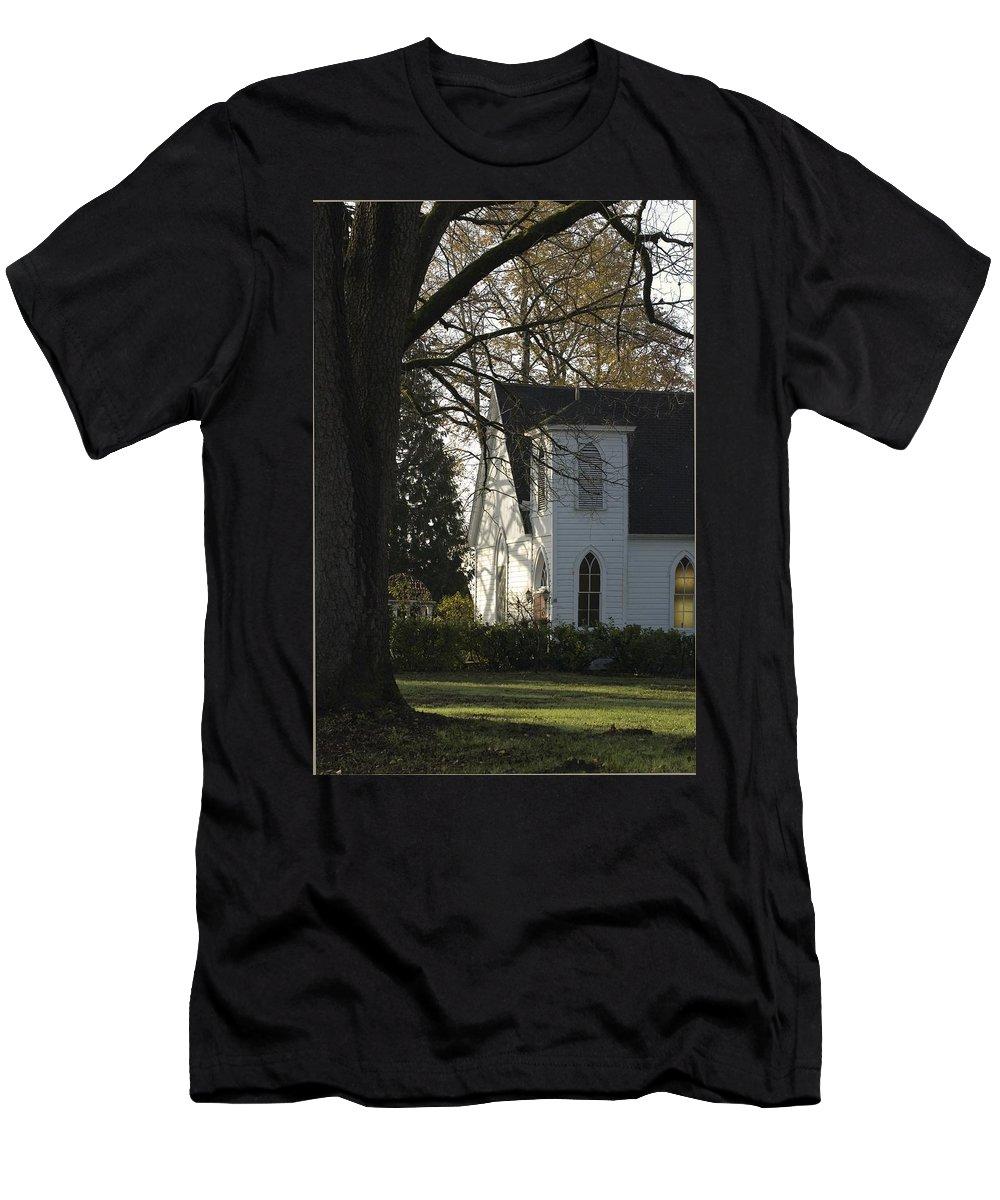 Church Men's T-Shirt (Athletic Fit) featuring the photograph The White Church by Sara Stevenson