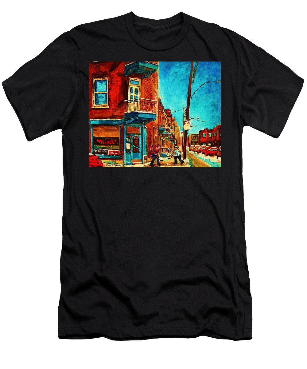 Wilenskys Doorway Men's T-Shirt (Athletic Fit) featuring the painting The Wilensky Doorway by Carole Spandau
