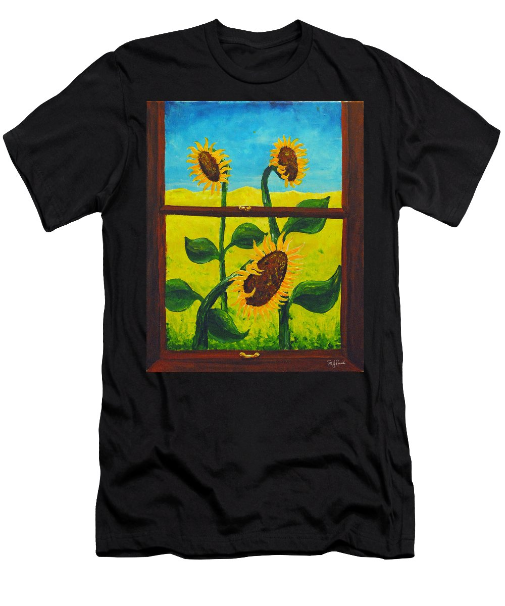 Nude Beach Men's T-Shirt (Athletic Fit) featuring the painting The Window by Michael Fencik