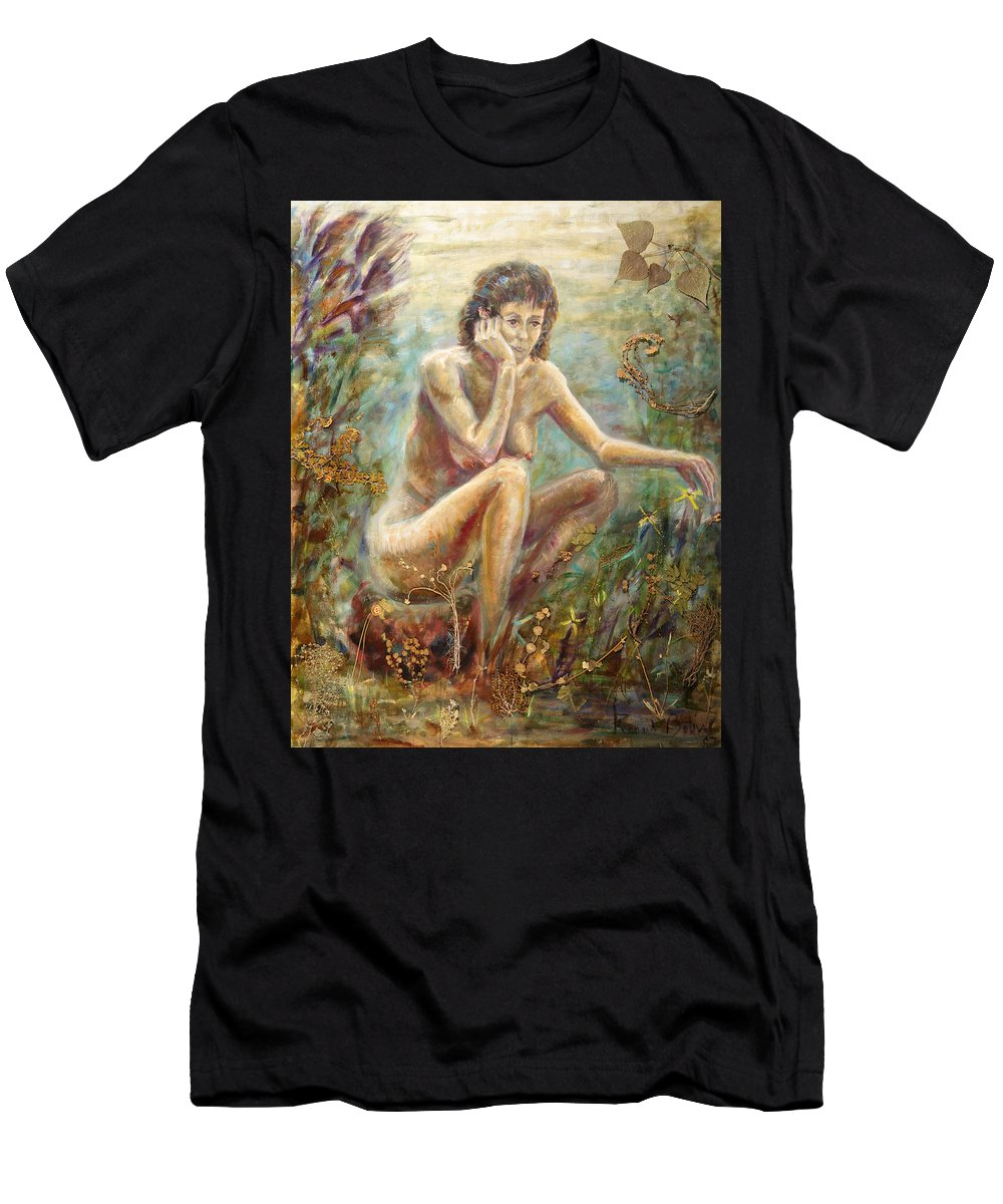 Men's T-Shirt (Athletic Fit) featuring the painting The Woman by Fernando Bolivar