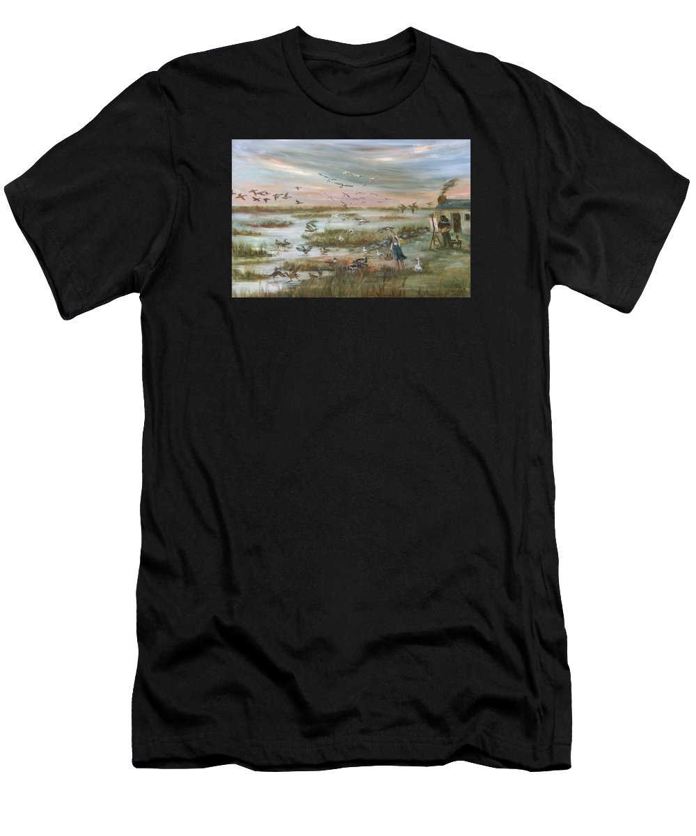Marsh Men's T-Shirt (Athletic Fit) featuring the painting The Wondrous Feathered Things Of The Great Marsh by Vivan Robinson
