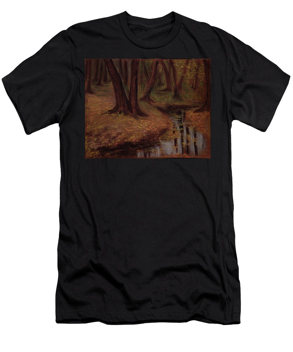 Woods Men's T-Shirt (Athletic Fit) featuring the pastel The Woods Are Deep And Dark by Asha Sudhaker Shenoy