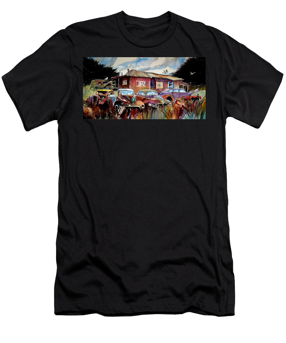 Cars Men's T-Shirt (Athletic Fit) featuring the painting The Yard Ornaments by Ron Morrison