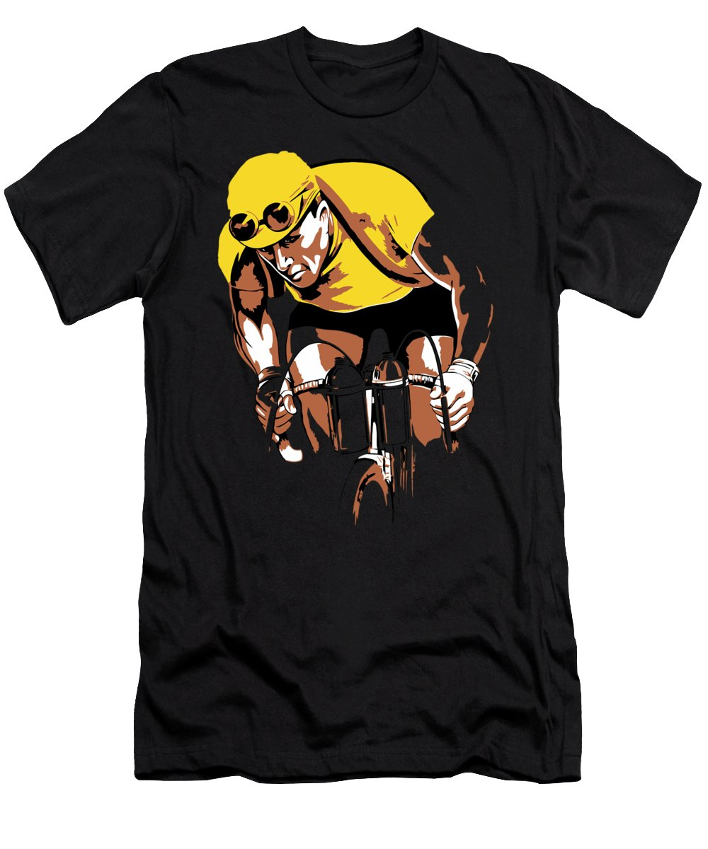 Vintage Men's T-Shirt (Athletic Fit) featuring the digital art The Yellow Jersey Retro Style Cycling by Heidi De Leeuw