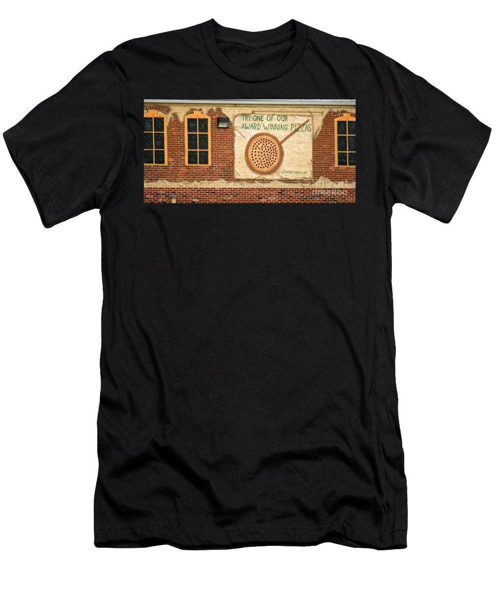 Buildings Men's T-Shirt (Athletic Fit) featuring the photograph Their Pizza Is A Work Of Art by Judy Carr