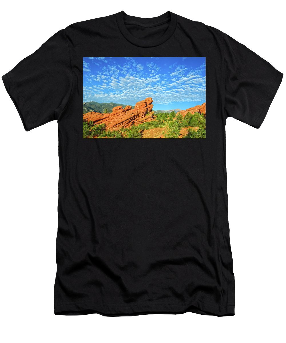Garden Of The Gods Men's T-Shirt (Athletic Fit) featuring the photograph There's A Seraphic Presence In This Garden by Bijan Pirnia