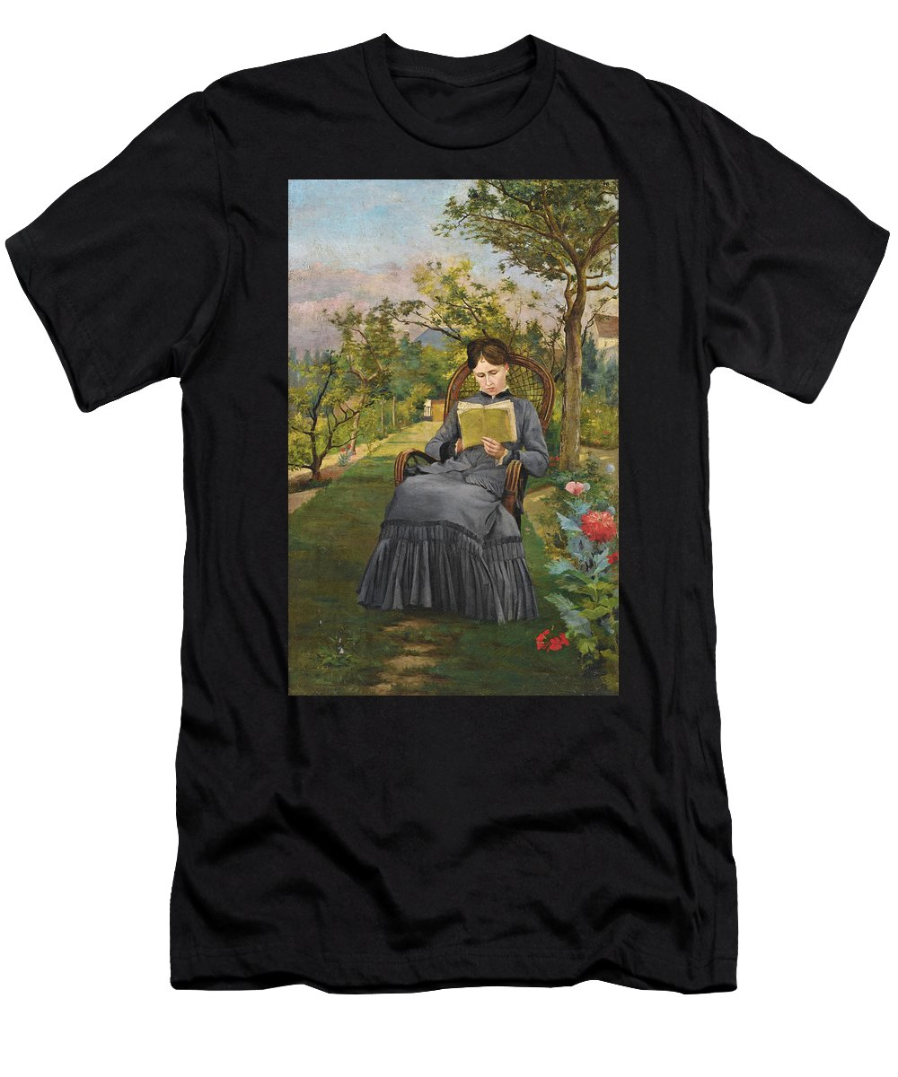 Frederic Bazille Men's T-Shirt (Athletic Fit) featuring the painting Therese Reading In The Park Of Meric by Frederic Bazille