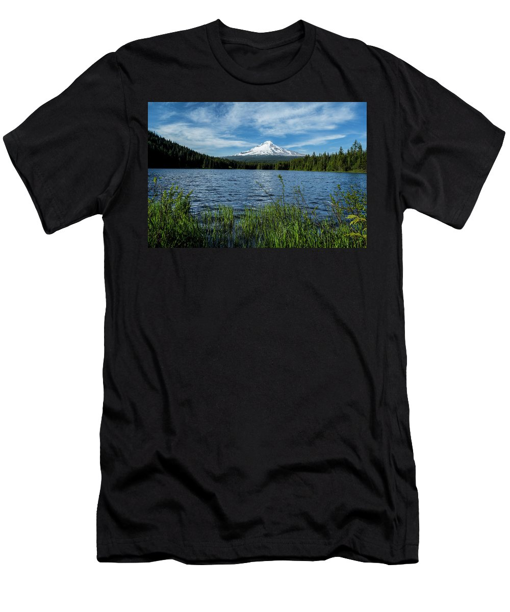 Lake Men's T-Shirt (Athletic Fit) featuring the photograph Thillium Lake And Mt Hood by Joe Miller