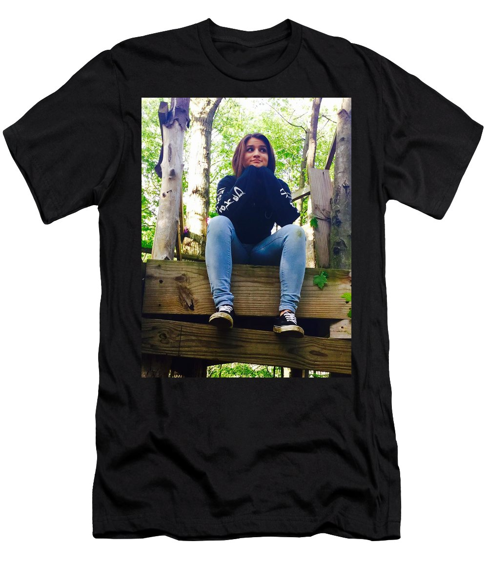 Outside Men's T-Shirt (Athletic Fit) featuring the photograph Thinking by Christin Rivas