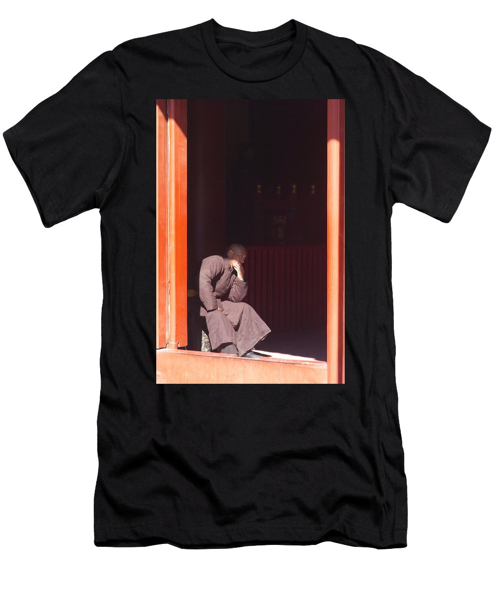 China Men's T-Shirt (Athletic Fit) featuring the photograph Thinking Monk by Sebastian Musial