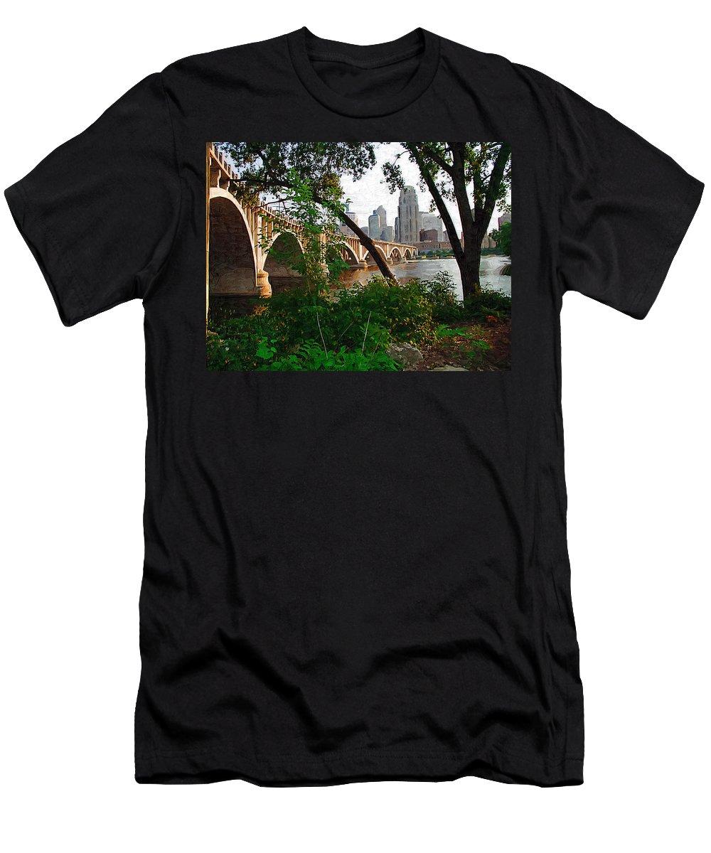 Minneapolis Men's T-Shirt (Athletic Fit) featuring the photograph Third Avenue Bridge by Tom Reynen