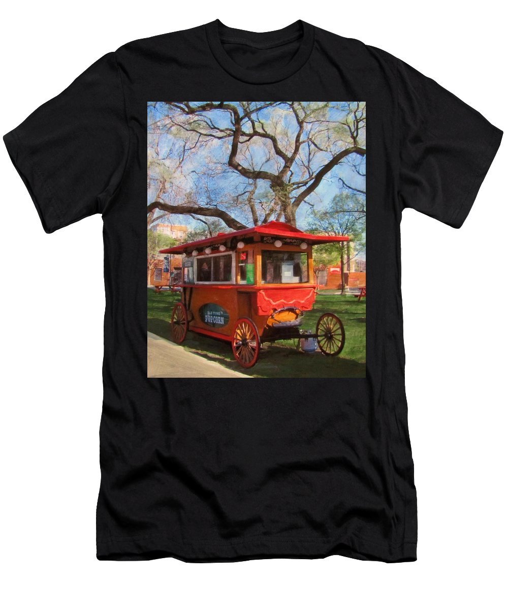 Milwaukee Men's T-Shirt (Athletic Fit) featuring the mixed media Third Ward - Popcorn Wagon by Anita Burgermeister