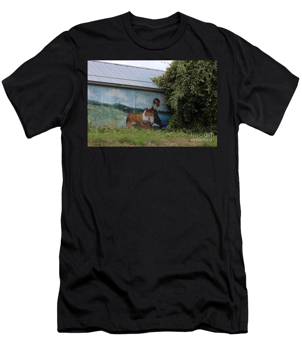 America Men's T-Shirt (Athletic Fit) featuring the photograph This Old Barn 3 by Ella Kaye Dickey