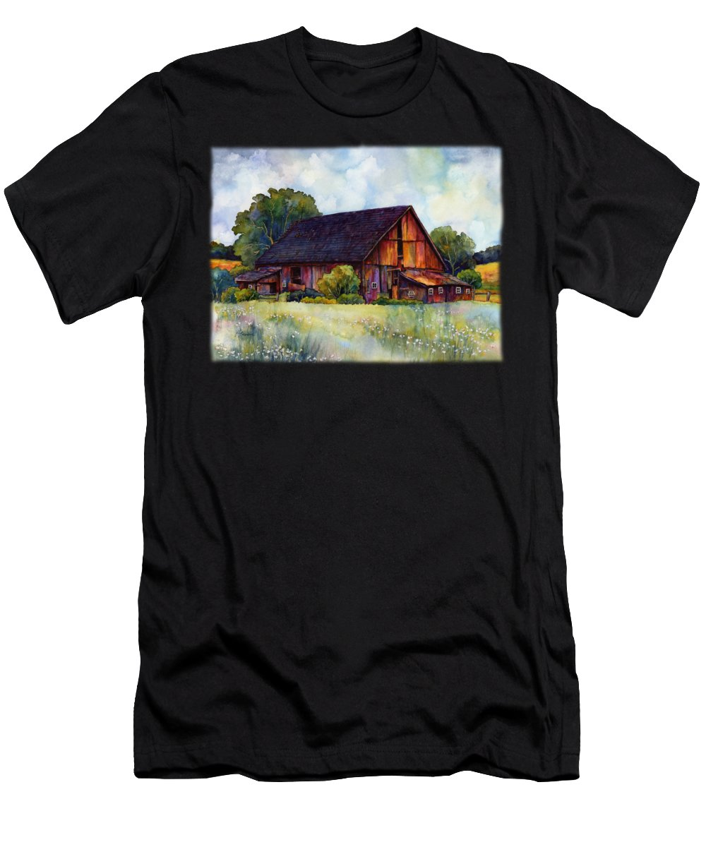 Barn Men's T-Shirt (Athletic Fit) featuring the painting This Old Barn by Hailey E Herrera
