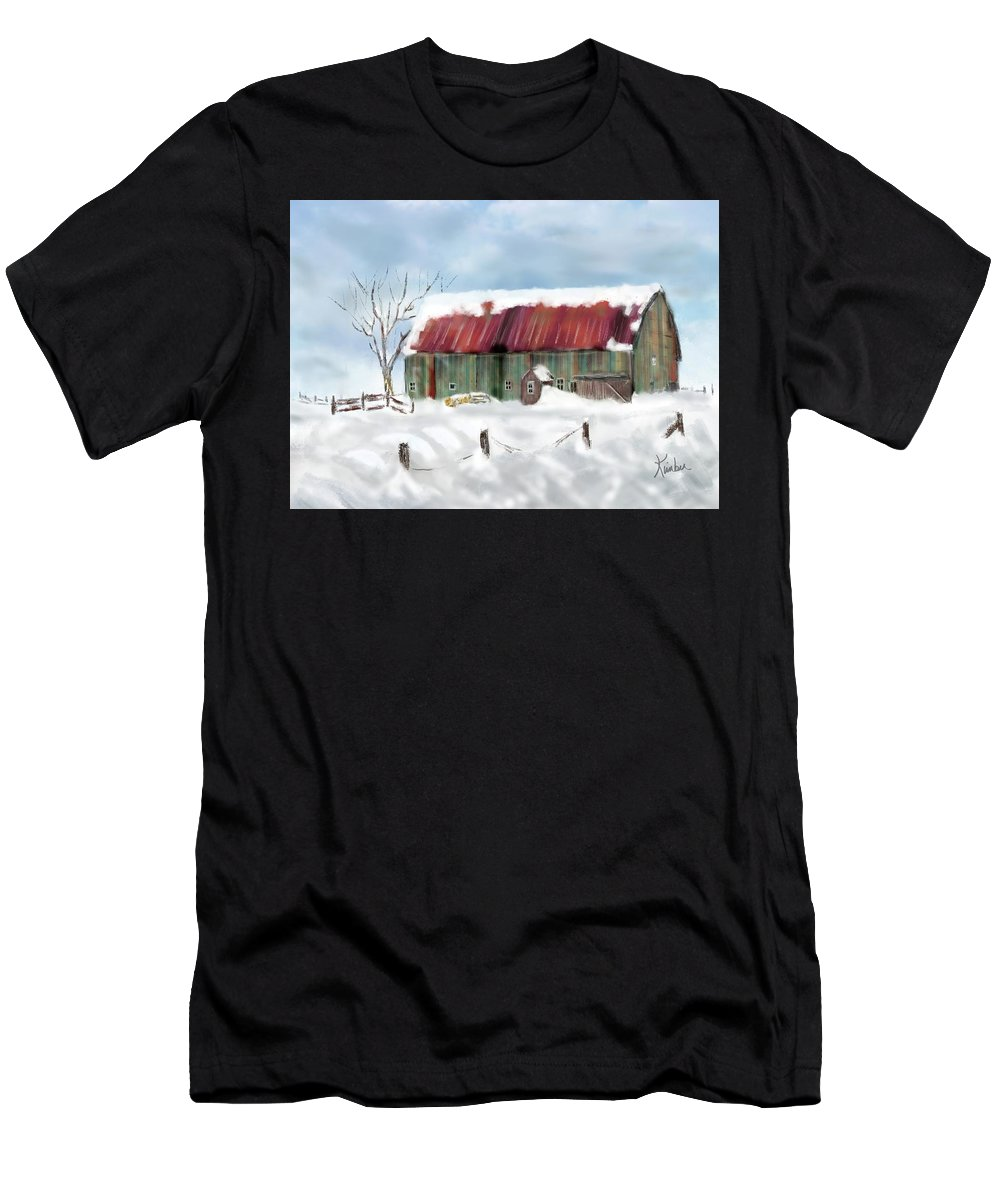 Winter Men's T-Shirt (Athletic Fit) featuring the digital art This Old Barn by Kimber Wallwork-Heineman